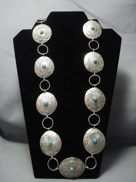 Important Yazzie Vintage Navajo Sterling Native American Jewelry Silver Concho Belt