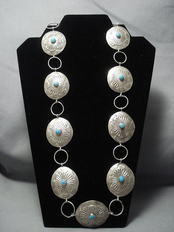 Important Yazzie Vintage Navajo Sterling Native American Jewelry Silver Concho Belt-Nativo Arts