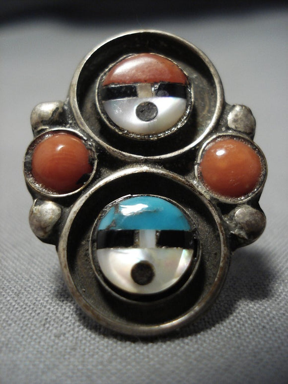 Important Zeno Edaakie Turquoise Coral Vintage Native American Jewelry Zuni Sterling Silver Ring Old-Nativo Arts