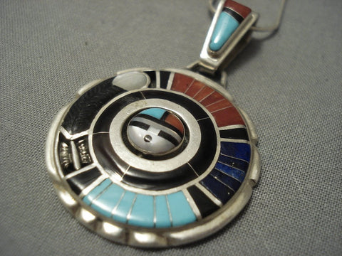 Important Zuni Don Dewa Turquoise Coral Sterling Native American Jewelry Silver Necklace-Nativo Arts