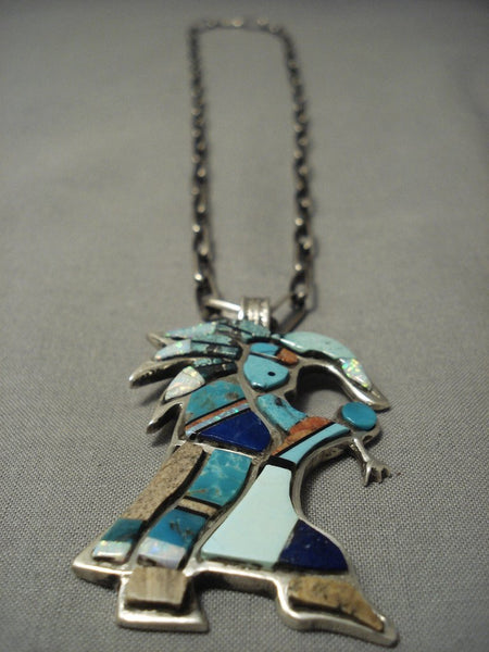 Importnt Chee Family Vintage Navajo Dancing Kachina Native American Jewelry Silver Necklace