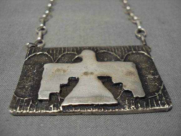 Impressive Sterling Silver Thunderbird Necklace-Nativo Arts