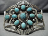 Impressive Vintage Native American Navajo Blue Green Turquoise Sterling Silver Bracelet Old-Nativo Arts