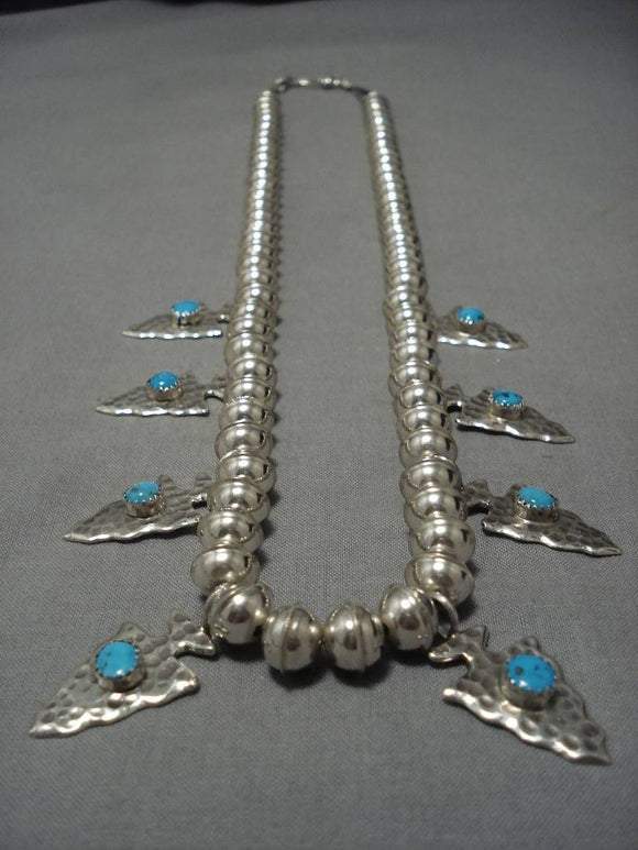 Impressive Vintage Native American Navajo Sterling Silver Arrowhead Necklace-Nativo Arts