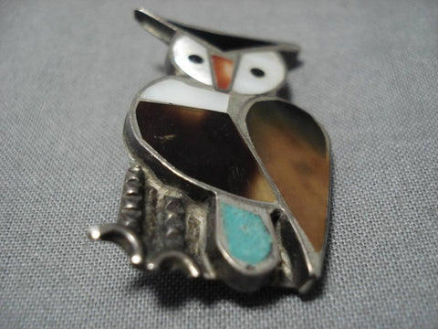 Impressive Vintage Native American Zuni Owl Turquoise Inlay Sterling Silver Pin Old-Nativo Arts