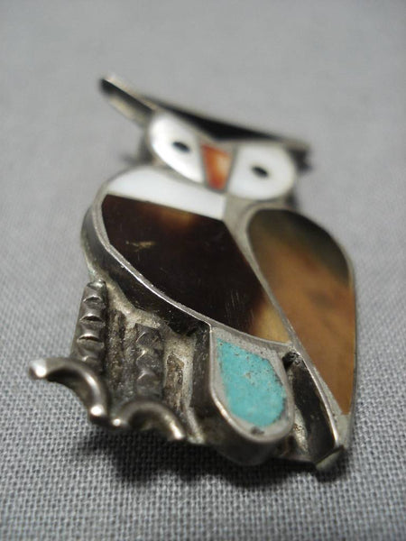 Impressive Vintage Native American Zuni Owl Turquoise Inlay Sterling Silver Pin Old