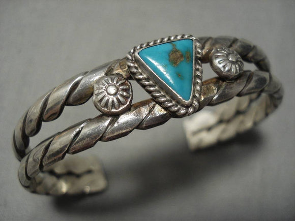 Incredible Double Coil Vintage Navajo Sterling Silver Native American Bracelet-Nativo Arts