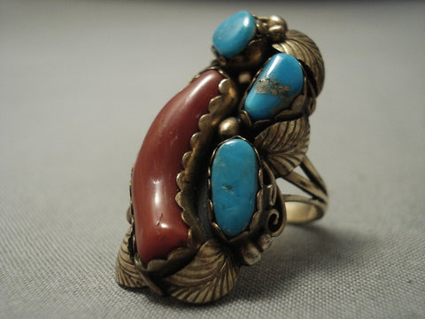 Incredible Gold And Native American Jewelry Silver Vintage Navajo Turquoise Sterling Native American Jewelry Silver Ring Old-Nativo Arts