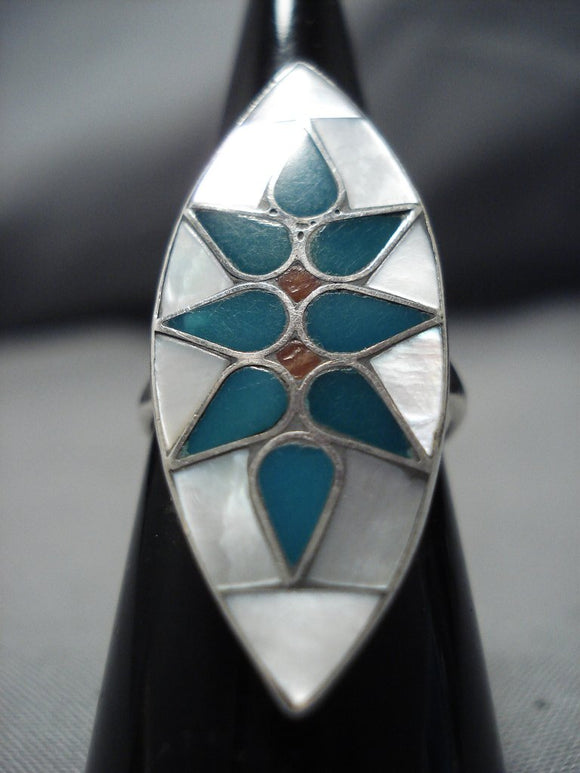 Incredible Intricacy! Vintage Native American Jewelry Zuni Sterling Silver Turquoise Coral Inlat Ring-Nativo Arts