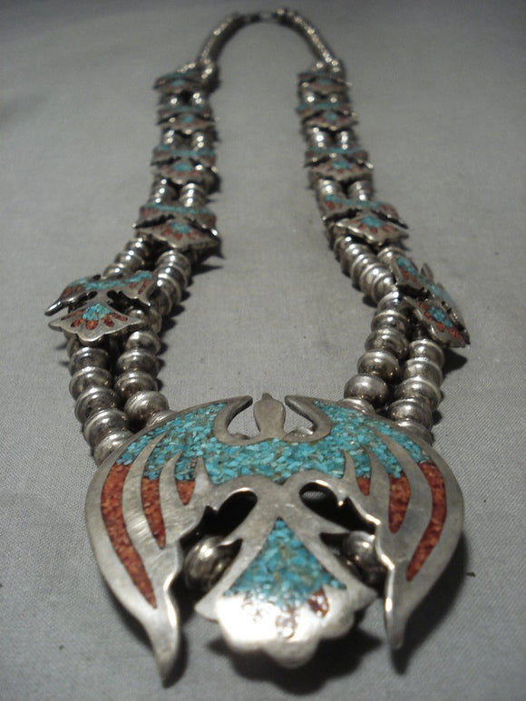 Incredible Mid Century Vintage Navajo Native American Jewelry jewelry Bird Turquoise Squash Blossom Necklace-Nativo Arts
