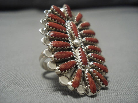 Incredible Navajo Coral Sterling Silver Native American Ring Old-Nativo Arts