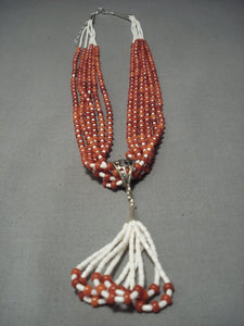 Incredible Santo Domingo Coral Sterling Native American Jewelry Silver Shell Necklace-Nativo Arts