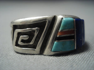 Incredible Vintage Hopi Turquoise Emery Holmes Sterling Native American Jewelry Silver Ring-Nativo Arts