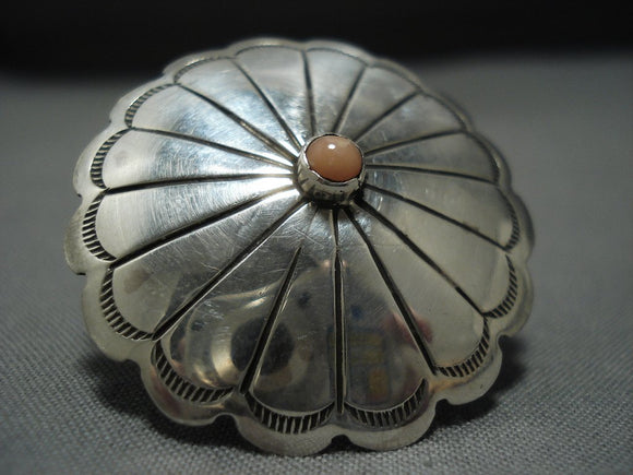 Incredible Vintage Native American Jewelry Navajo Sterling Silver Rhodocyte Flower Ring Old-Nativo Arts