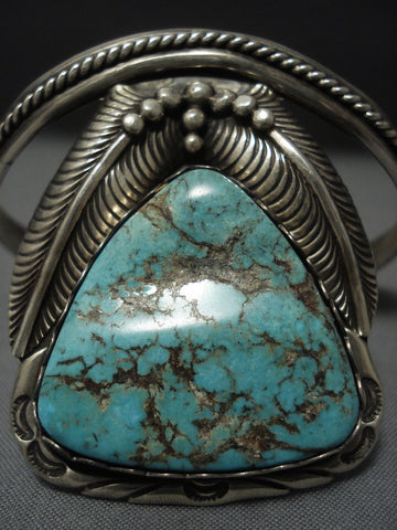 Incredible Vintage Navajo #8 Turquoise Sterling Native American Jewelry Silver Bracelet Old Pawn-Nativo Arts