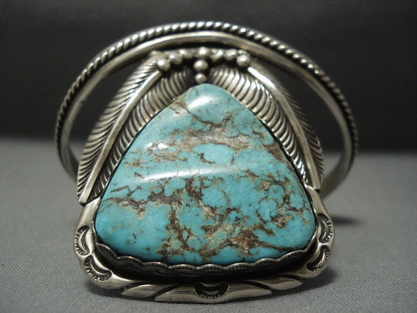 Incredible Vintage Navajo #8 Turquoise Sterling Native American Jewelry Silver Bracelet Old Pawn