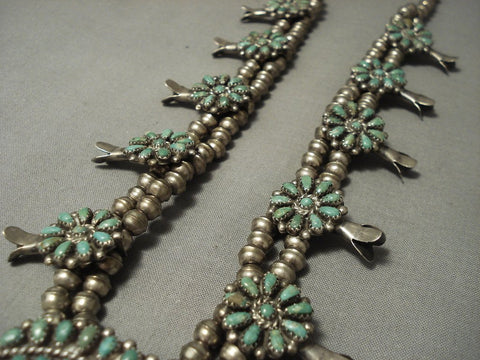 Incredible Vintage Navajo Green Royston Turquoise Native American Jewelry Silver Squash Blossom Necklace-Nativo Arts