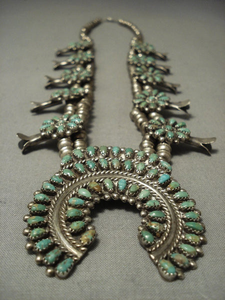 Incredible Vintage Navajo Green Royston Turquoise Native American Jewelry Silver Squash Blossom Necklace