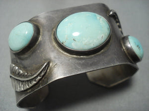 Incredible Vintage Navajo Green Turquoise Sterling Native American Jewelry Silver Bracelet Old-Nativo Arts