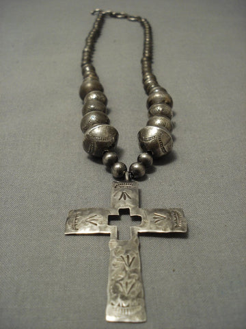 Incredible! Vintage Navajo Hand Wrought Sterling Native American Jewelry Silver Cross Necklace-Nativo Arts