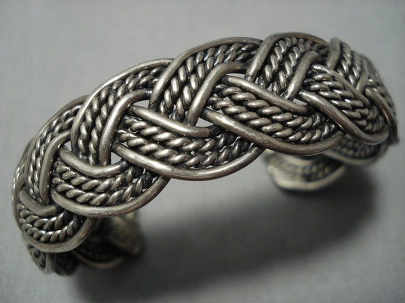 Incredible Vintage Navajo Native American Jewelry jewelry Hand Woven Thick Sterling Silver Bracelet Old-Nativo Arts