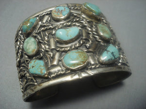 Incredible Vintage Navajo Royston Turquoise Sterling Silver Bracelet Old-Nativo Arts