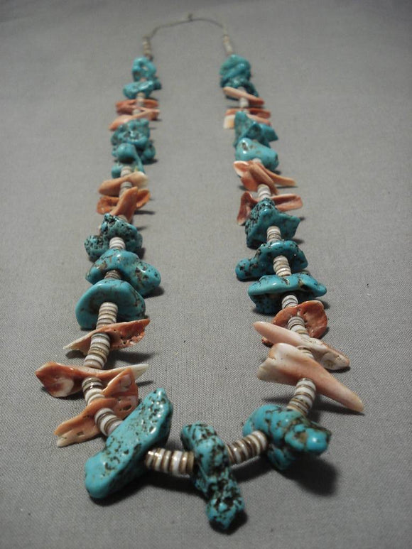 Incredible Vintage Navajo Turquoise Coral Native American Necklace Old-Nativo Arts