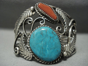 Incredible Vintage Navajo Turquoise Coral Sterling Native American Jewelry Silver Bracelet Old-Nativo Arts