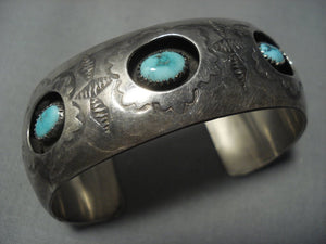 Incredible Vintage Navajo Turquoise Sterling Native American Jewelry Silver Bracelet Old Cuff-Nativo Arts