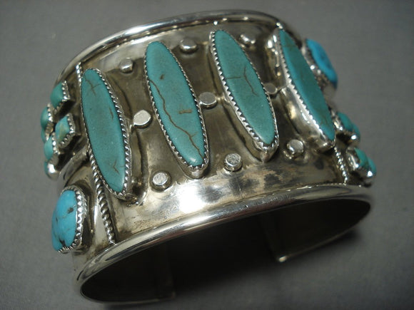 Incredible Vintage Navajo Turquoise Sterling Native American Jewelry Silver Bracelet-Nativo Arts