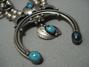 Incredible Vintage Zuni Cooyat Turquoise Sterling Native American Jewelry Silver Squash Blossom Necklace-Nativo Arts