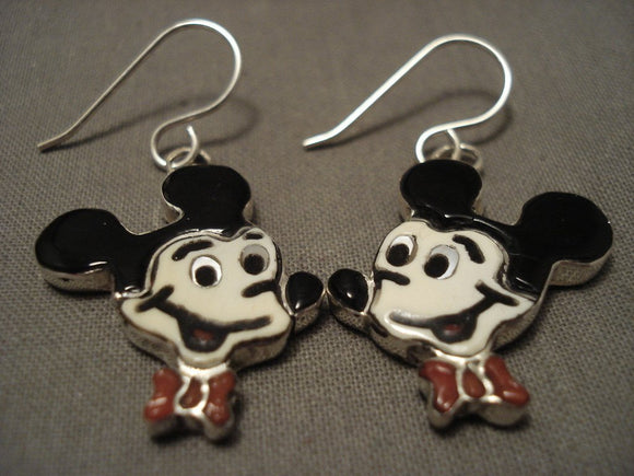 Incredibly Detailed Mickey Coral Native American Jewelry Silver Earrings-Nativo Arts