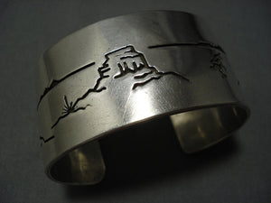 Incredibly Hand Carved Vintage Navajo Native American Jewelry jewelry Sterling Silver Bracelet Cuff Old-Nativo Arts