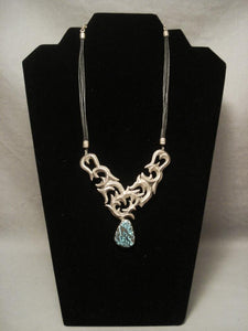 Incredibly Intricate Vintage Navajo Blue Creek Turquoise Native American Jewelry Silver Necklace-Nativo Arts