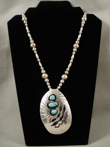 Incredibly Large Vintage Navajo Light Blue Turquoise Native American Jewelry Silver Necklace-Nativo Arts