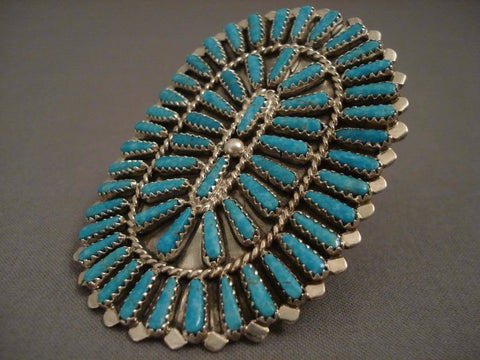 Incredibly Large Vintage Navajo Turquoise Native American Jewelry Silver Ring-Nativo Arts