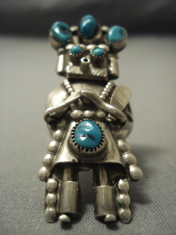 Incredibly Tall! Vintage Navajo Turquoise Sterling Native American Jewelry Silver Kachina Ring-Nativo Arts