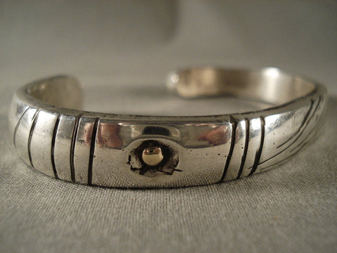 Ingot Hand Wrought Vintage Navajo Jimmie King Native American Jewelry Silver Bracelet-Nativo Arts