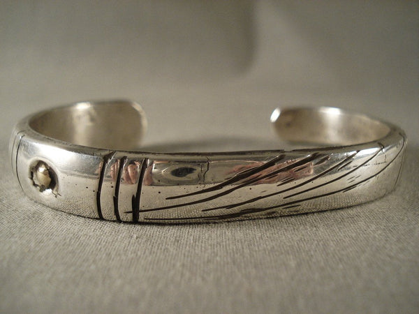 Ingot Hand Wrought Vintage Navajo Jimmie King Native American Jewelry Silver Bracelet
