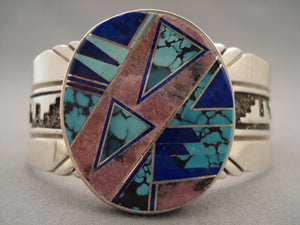 Intense And Extreme Inlay Vintage Navajo Turquoise Native American Jewelry Silver Bracelet-Nativo Arts