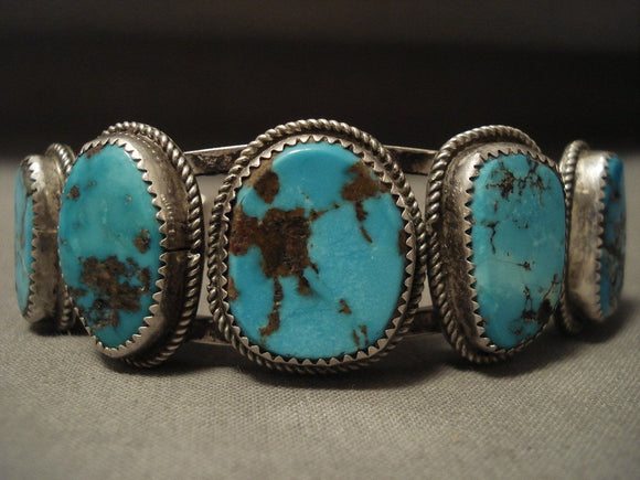 Intense Bisbee Vintage Navajo Turquoise Native American Jewelry Silver Bracelet-Nativo Arts