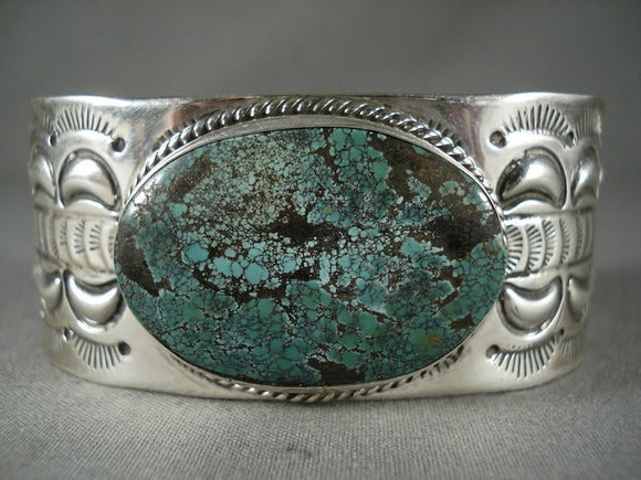 Intense Turquouse Modernistic Navajo Native American Jewelry Silver Bracelet-Nativo Arts