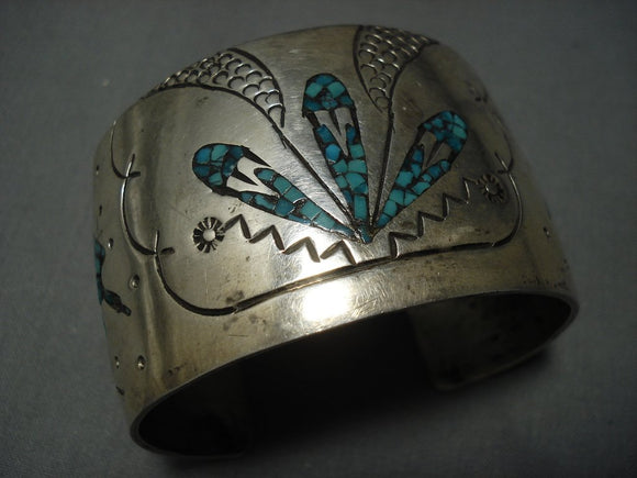 Intricacy Galore! Vintage Navajo Turquoise Sterling Native American Jewelry Silver Bracelet-Nativo Arts