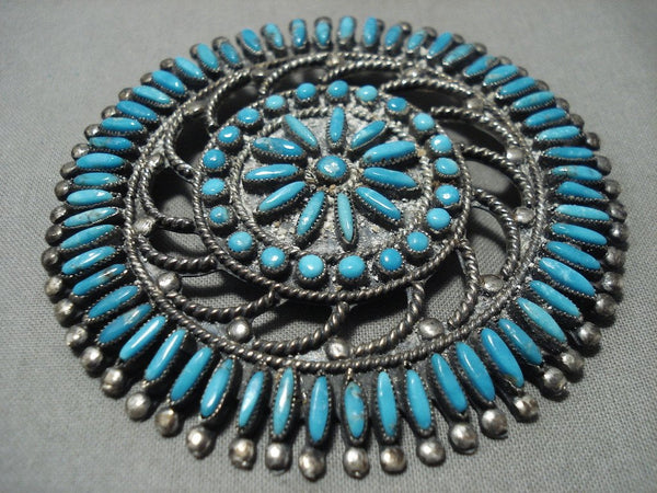 Intricacy Galore! Vintage Zuni/ Navajo Needle Turquoise Native American Jewelry Silver Sun Pendant Pin