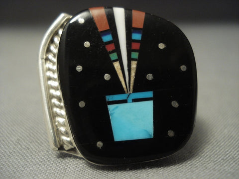 Intricate! Midnight Space Kachina Navajo Sterling Native American Jewelry Silver Turquoise Coral Ring-Nativo Arts