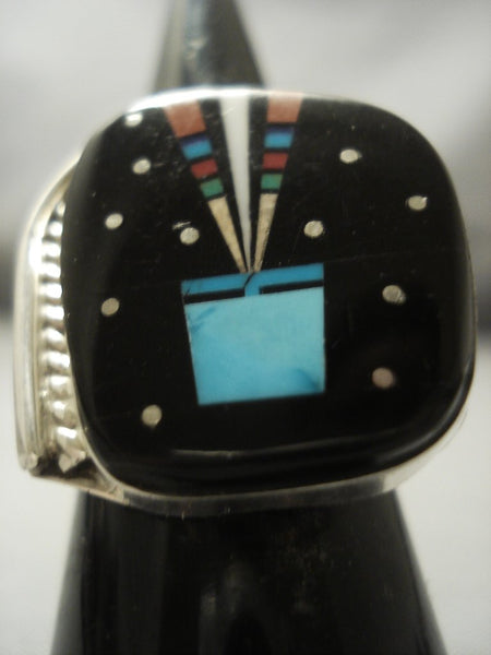 Intricate! Midnight Space Kachina Navajo Sterling Native American Jewelry Silver Turquoise Coral Ring