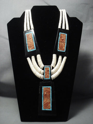 Intricate Santo Domingo Turquoise Coral Inlay Necklace-Nativo Arts
