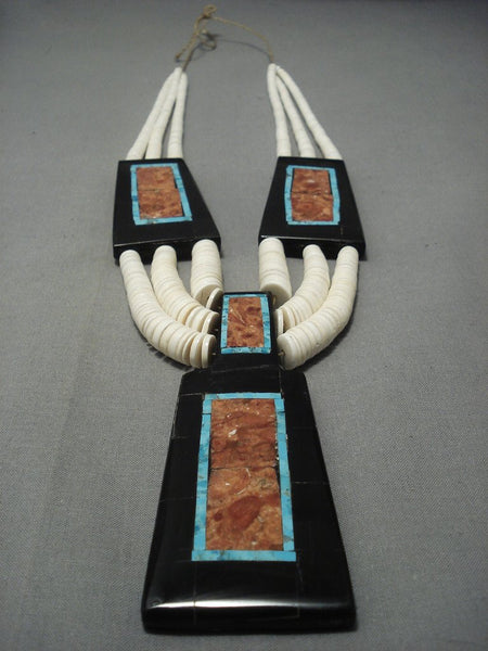 Intricate Santo Domingo Turquoise Coral Inlay Necklace
