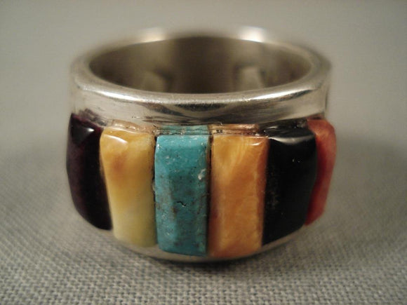 Intricate Vintage Navajo Adakai Family Turquoise Row Native American Jewelry Silver Ring-Nativo Arts