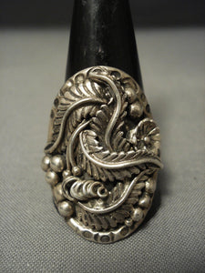 Intricate! Vintage Navajo Sterling Native American Jewelry Silver **garden Of Leaves** Ring-Nativo Arts